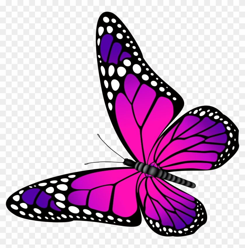 Clipart Pink Butterflies And Purple Butterfly Clip - Purple Butterfly Clip Art #1913