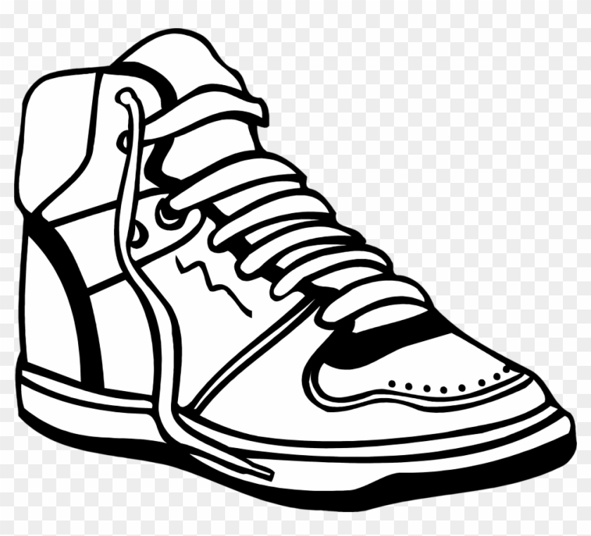 Nike Clipart Basketball Shoe - Shoe Clipart Black And White #1930