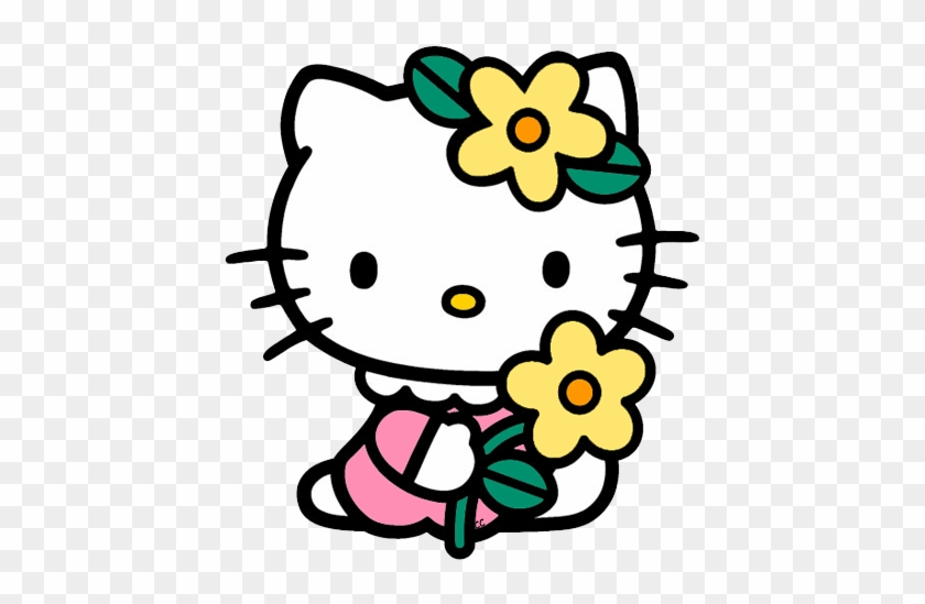 Hello Kitty Holding Flower - Flower Images To Color #1951