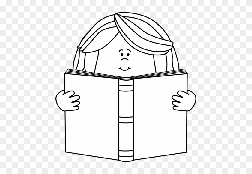 Black And White Girl Reading A Book Clip Art - Cartoon Reading Black And White #2046