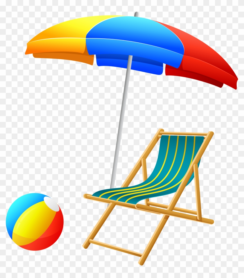 Beach Umbrella With Chair And Ball Png Clip Art - Beach Umbrella With Chair And Ball Png Clip Art #2139