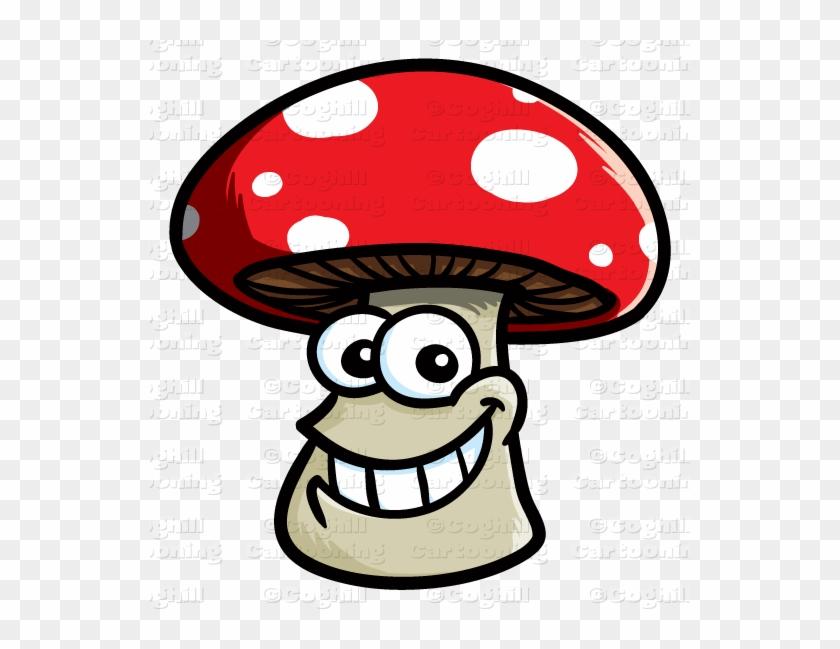 Smiling Mushroom Cartoon Character Clip Art Stock Illustration - Cartoon Mushroom With Face #2148