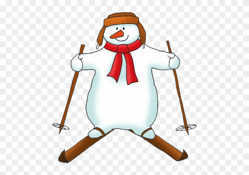 Snowman On Skis Clipart - Snowman Skating Clipart #2136