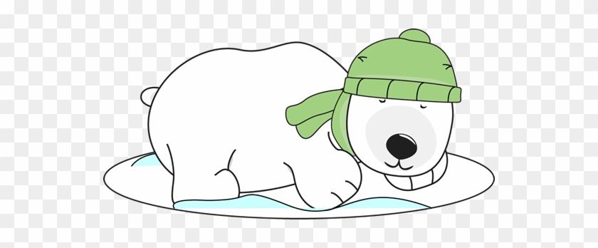 Polar Bear Sleeping In The Snow Clip Art - Winter Polar Bear Clipart #2147