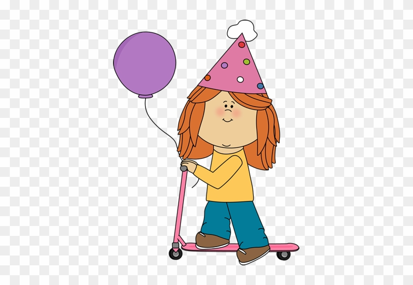 Birthday Girl Riding A Scooter - Birthday Girl Clip Art #2188