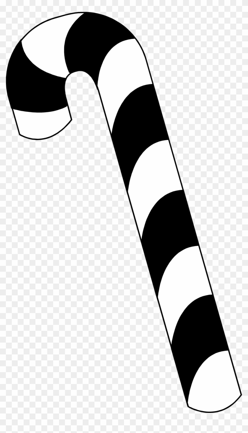 Candy Cane Clipart Black And White - Candy Cane Black And White #2267