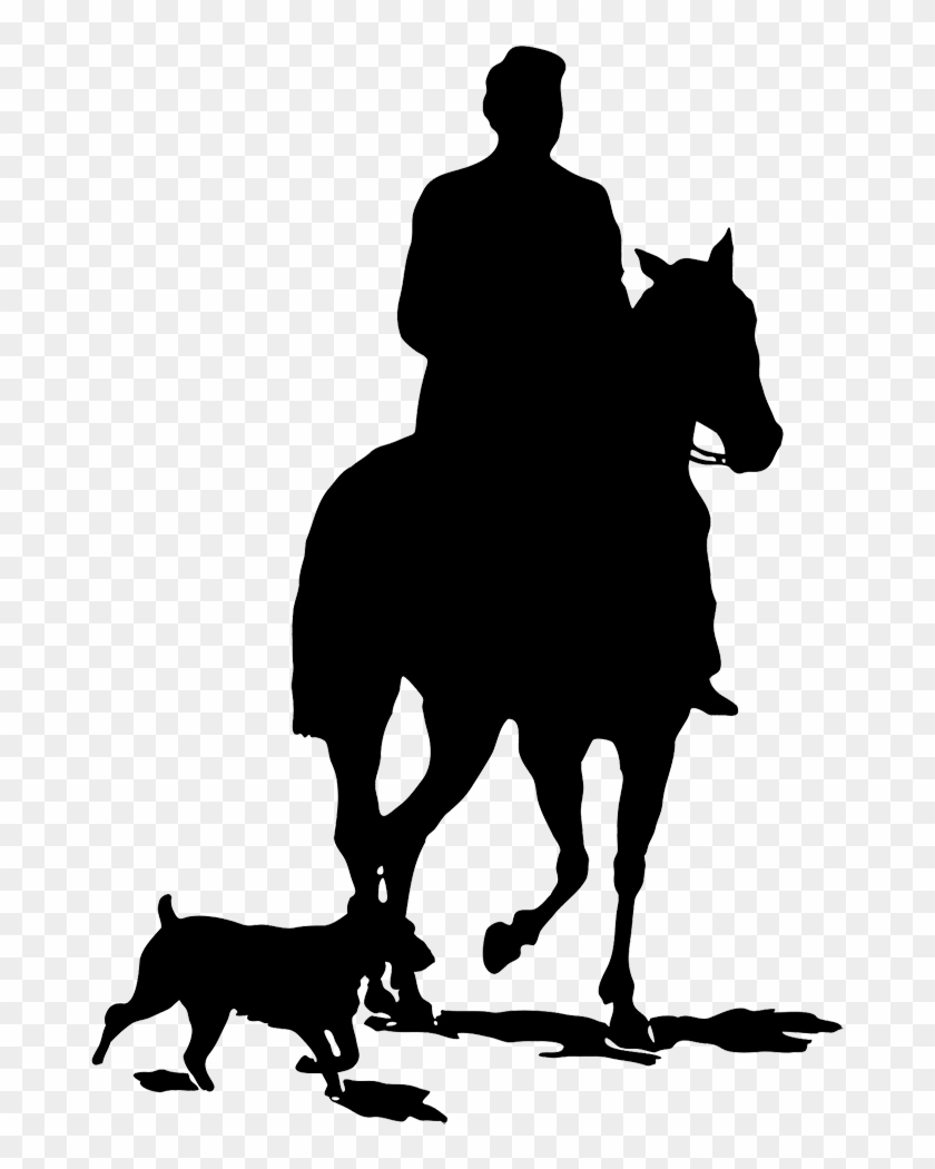 Black Horse Silhouette Clipart, Man With Horse And - He Coming Or Going #2313