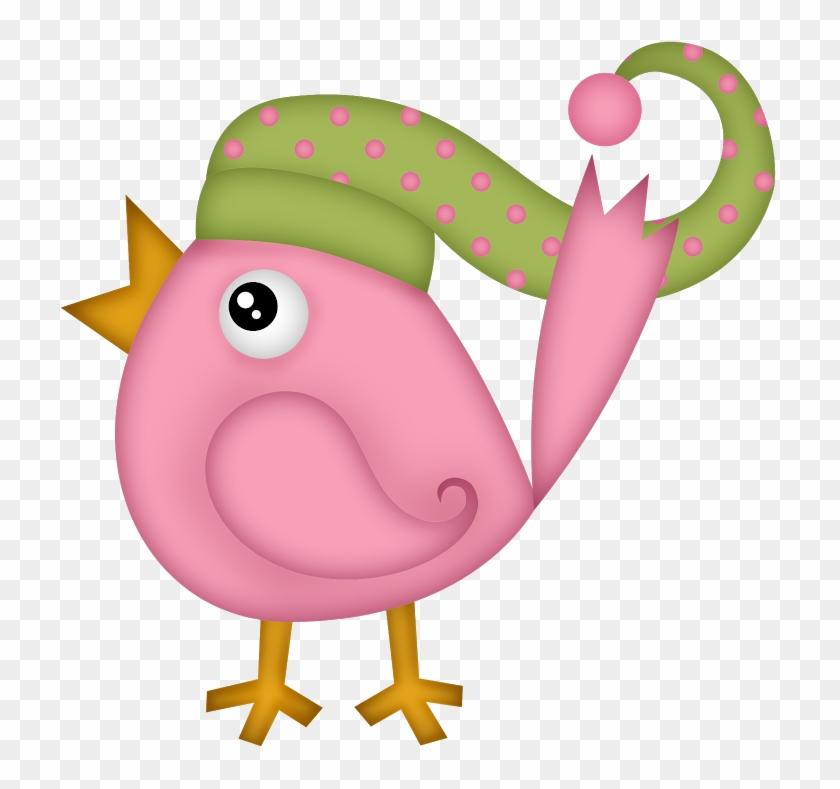 Winter Clipart, Christmas Clipart, Pink Bird, Piggy - Clip Art #2553