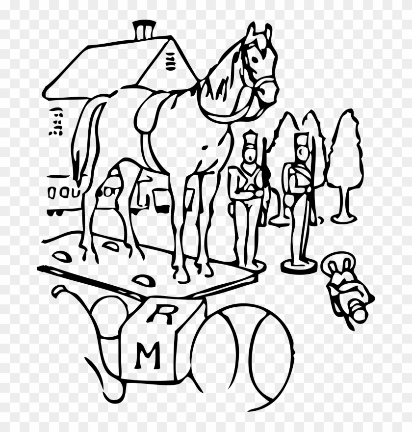 Free Vector Horse Building Trees Toys Outline Clip - Illustration #2631