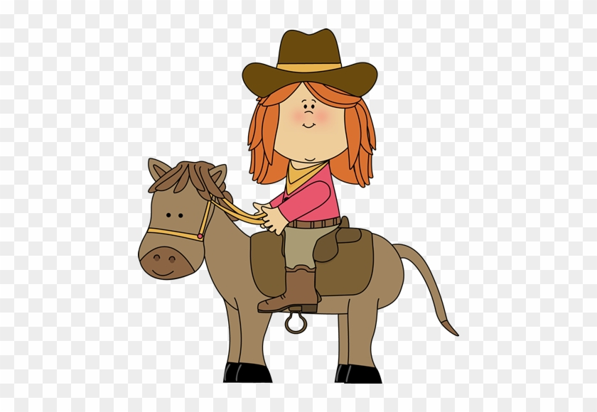 Cowboy Clip Art - Cartoon Cowgirl On Horse #2697