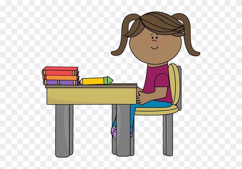 School Girl Sitting At A Desk - Girl Sitting At Desk Clipart #2709
