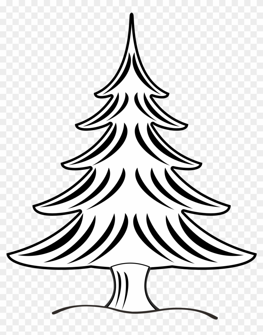 Black And White Trees Clipart - Black And White Line Drawing Pine Trees #2702