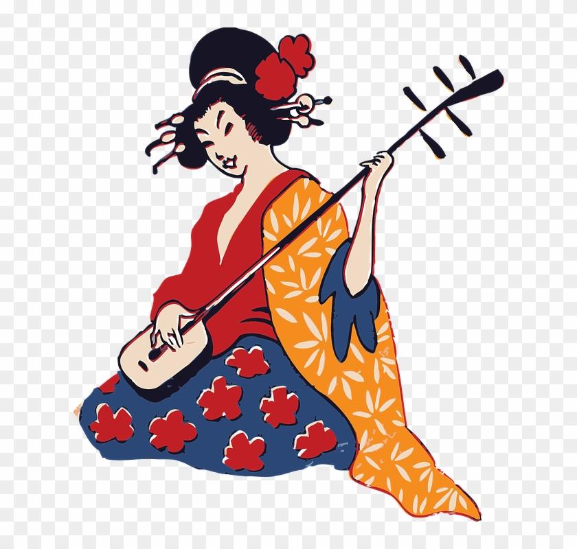 Geisha Playing A Shamisen - Geisha Clipart #2775