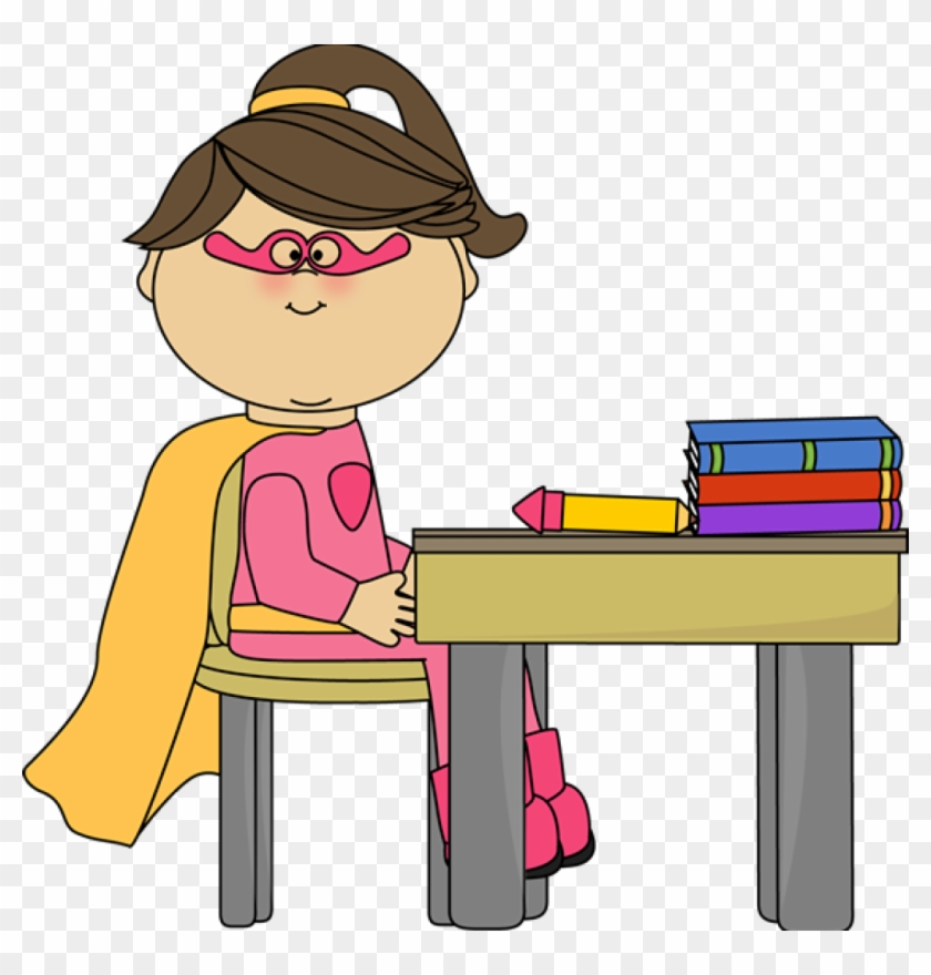 Girl Superhero At School Desk - Girl At Desk Clip Art #2838