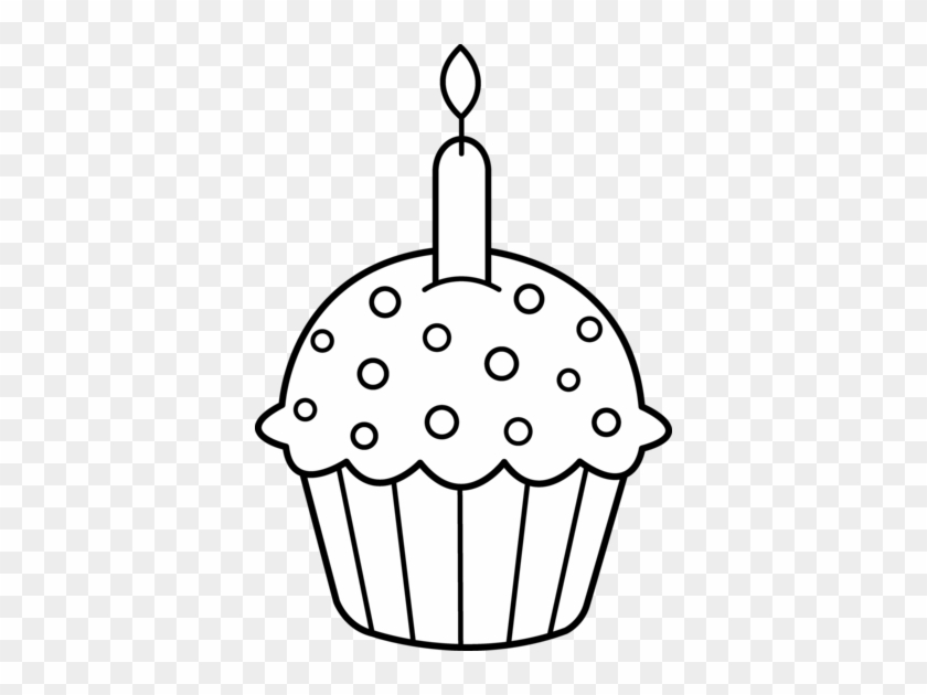 Birthday Black And White Image Of Birthday Clipart - Cute Cupcake Coloring Pages #2925