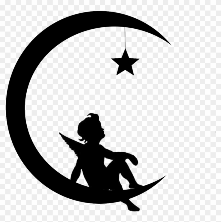 Angel-moon Star Silhouette - Wall Decal #2936