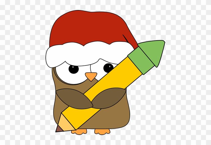 Christmas Owl Holding A Pencil - Christmas Teacher Clip Art #2985