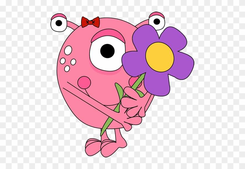 Girl Monster Holding A Flower - Monster Clipart #3063