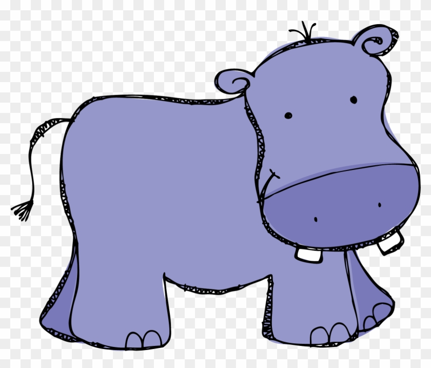Purple Hippo Clipart Kid - Clip Art Hippo #3124