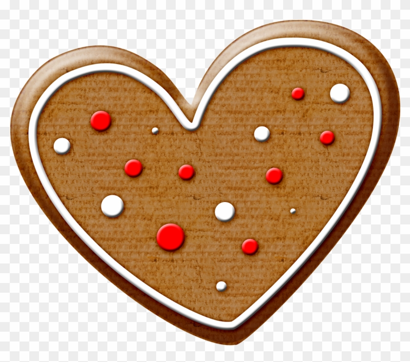 Christmas Gingerbread Heart Cookie Clip Art - Heart Shaped Cookie Clipart #3157