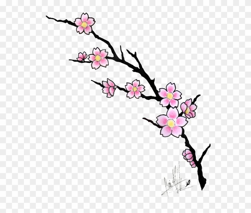 Sakura Flower Clip Art - Cherry Blossom Tattoo Design #3125