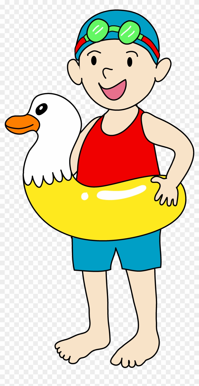 Happy Boy Clipart Black And White - Kids Swimming Clipart #3203