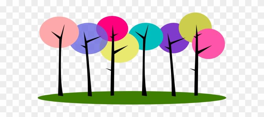 Trees Budding Tree Clipart Clipart Kid - Cartoon Trees In A Row #3193