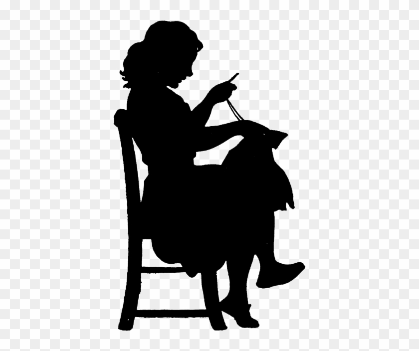 Via Clipart Etc - Girl Sewing Silhouette #3238