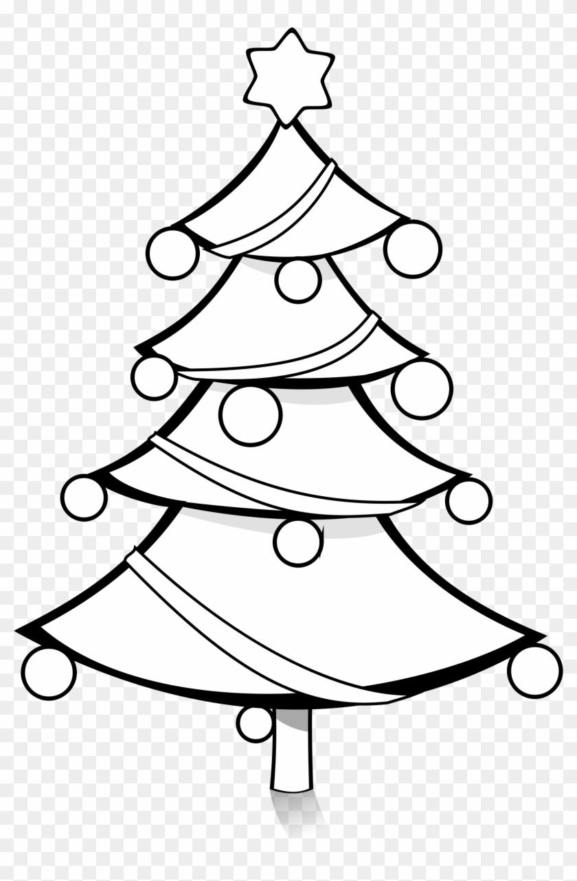 Christmas Tree Black And White Pretty Decorated Christmas - Christmas Tree Black And White #3397