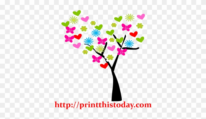 Colorful Floral Tree Clip Art Ycw0ec Clipart - Cute Love Tree Clipart #3411