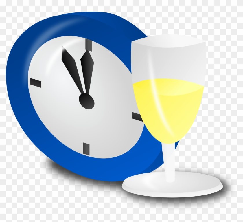 Clock And Champagne - New Years Clock Transparent #3487