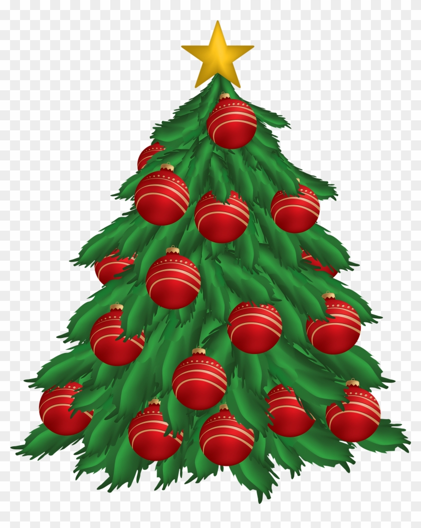 Christmas Tree With Red Christmas Ornaments Png Clipart - Christmas Tree With Ornaments Clipart #3526