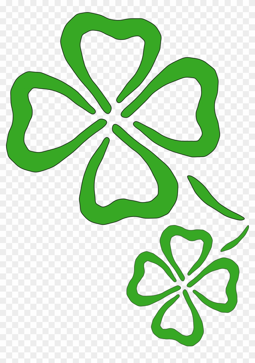Free Shamrock Clipart Public Domain Holiday Stpatrick - Two Four Leaf Clovers #3489
