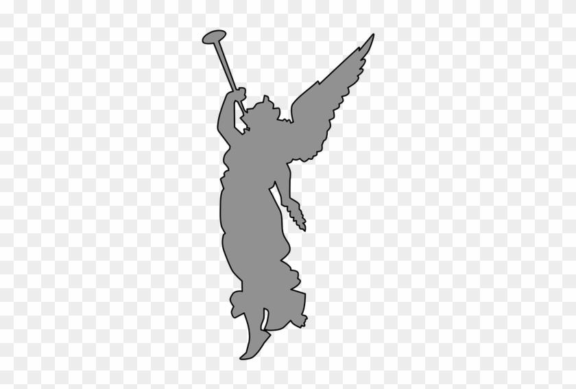 194 Angel Blowing Trumpet Clip Art Public Domain Vectors - Silueta Angel Tocando Trompeta #3519