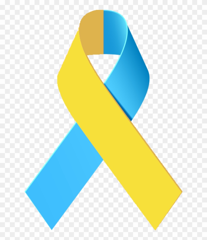Cancer Ribbon Awareness Ribbons Clip Art - Blue And Yellow Awareness Ribbon #3560