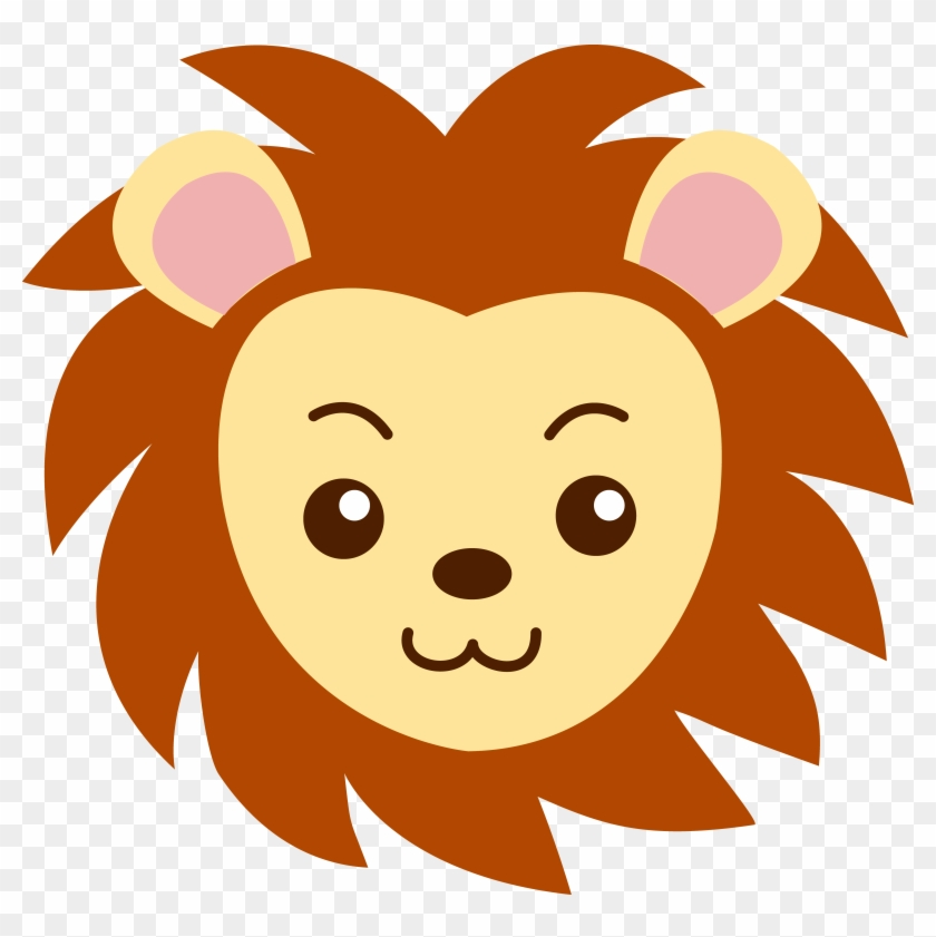Face Of A Cute Lion - Lion Face Drawing Cartoon #3736