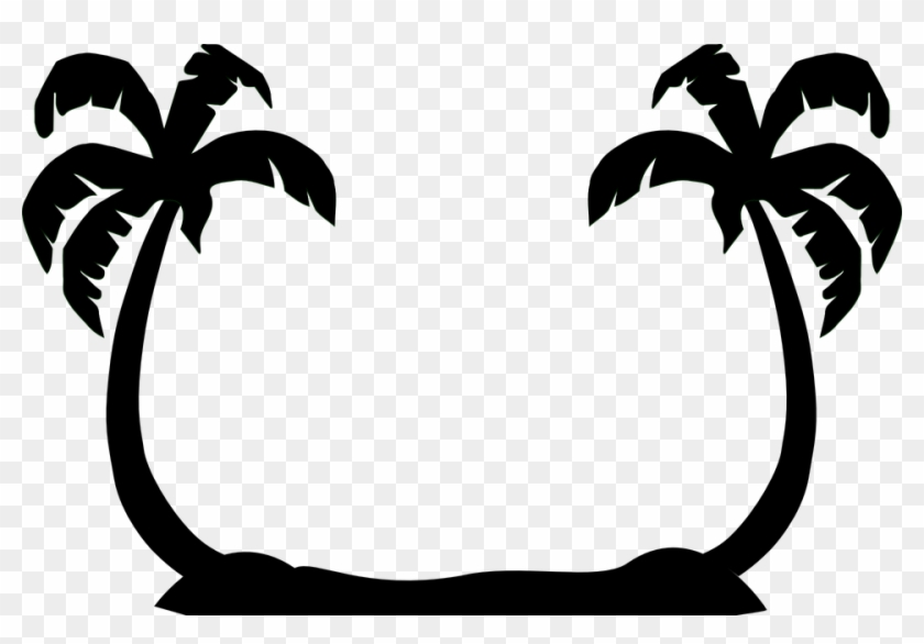 Palm Trees Facing Black Silhouettes Beach - Palm Trees Facing Black Silhouettes Beach #364