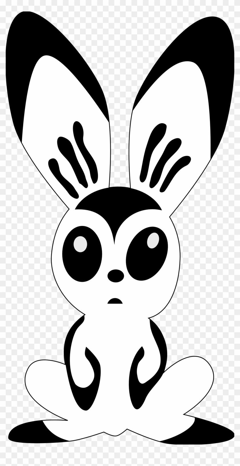 Hare Clip Art - Black And White Easter Bunny Clipart #3685