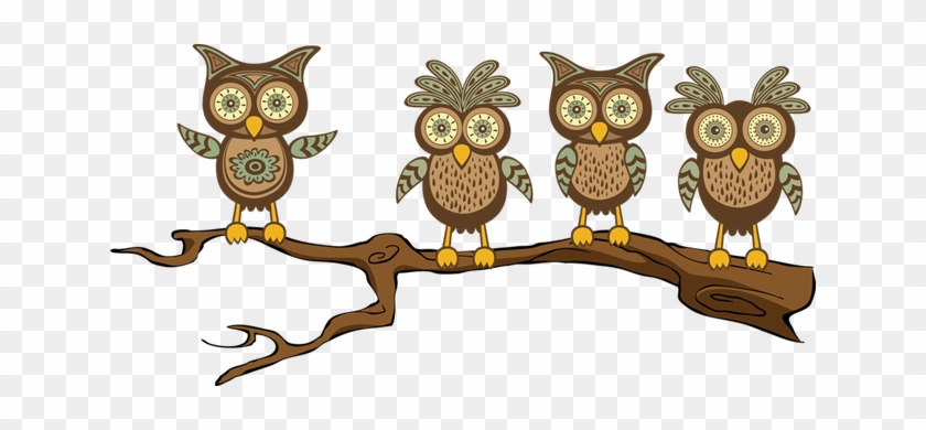 Owl On Tree Branch Clip Art Clipart - Owl On Tree Branch Clip Art Clipart #383
