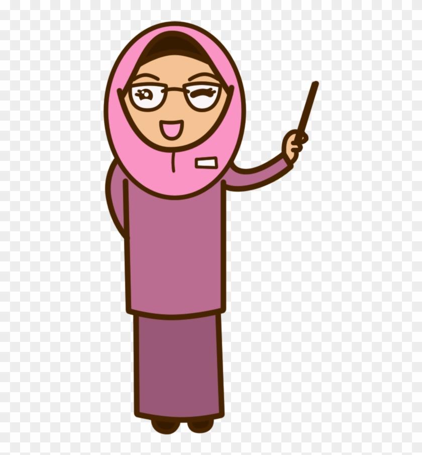 Clipart Muslimah Cartoon - Muslim Teacher Clipart #3821