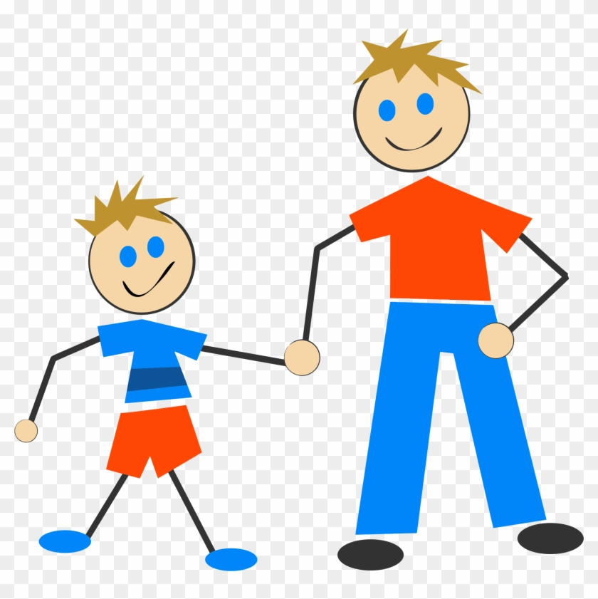 Free Person Clipart Black And White Outline - Father And Son Stick Figures #3845