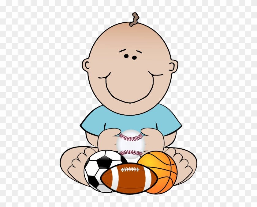 Baby Boy Sports Clipart - Baby Football Player Clipart #3894