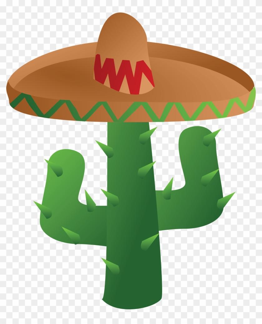 Free Clipart Of A Mexican Cactus Wearing A Sombrero - Cinco De Mayo Clip Art #4124