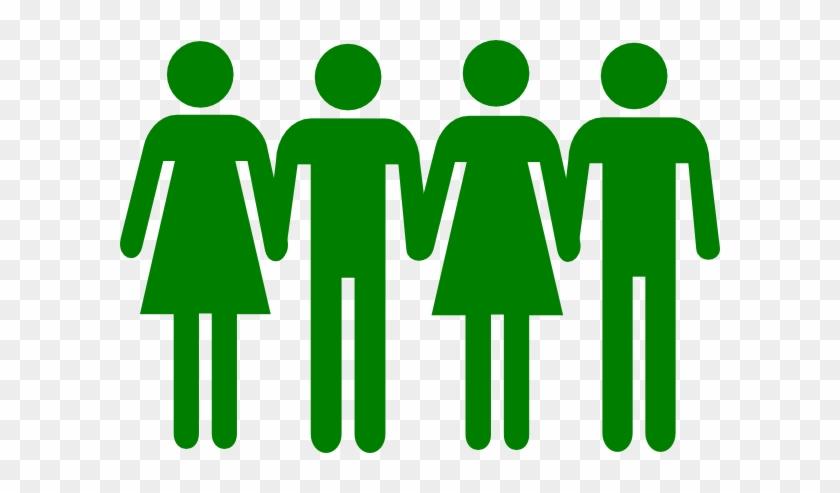 Men Women Holding Hands Clip Art - Stick Figures Holding Hands In A Line #4107