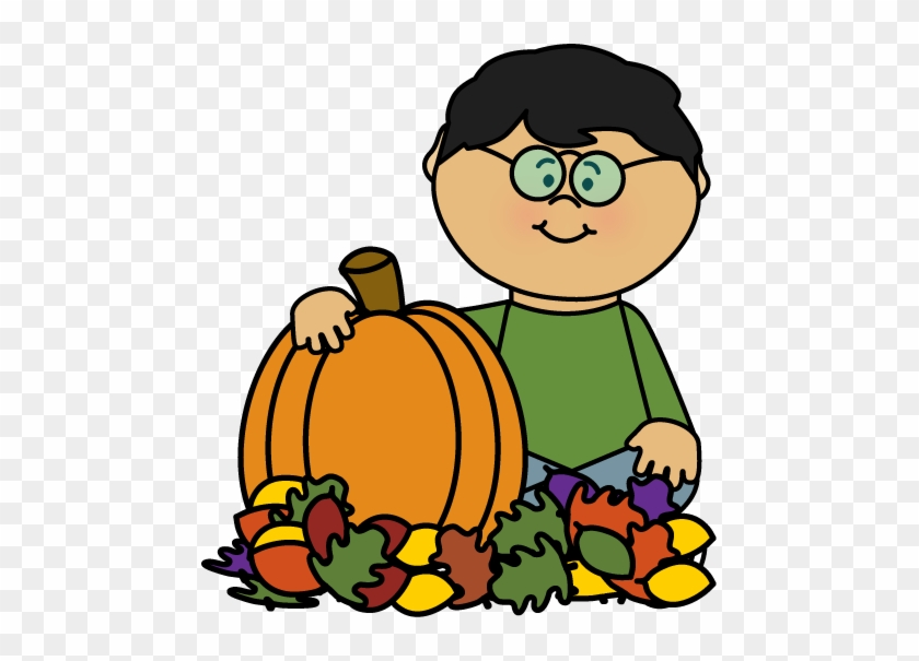 Boy Sitting In Leaves With Pumpkin Clip Art - Fall Kids Clipart #4146