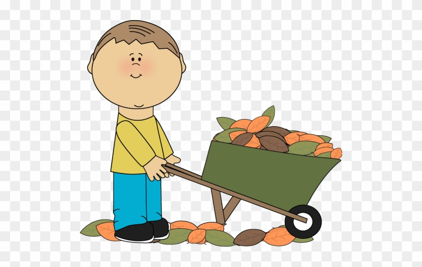 Boy With A Wheelbarrow Full Of Fall Leaves Clip Art - Wheelbarrow Clipart #4142