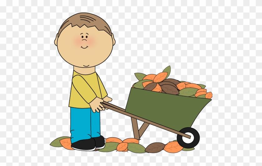 Boy With A Wheelbarrow Full Of Fall Leaves Clip Art - Wheelbarrow Clipart #4142