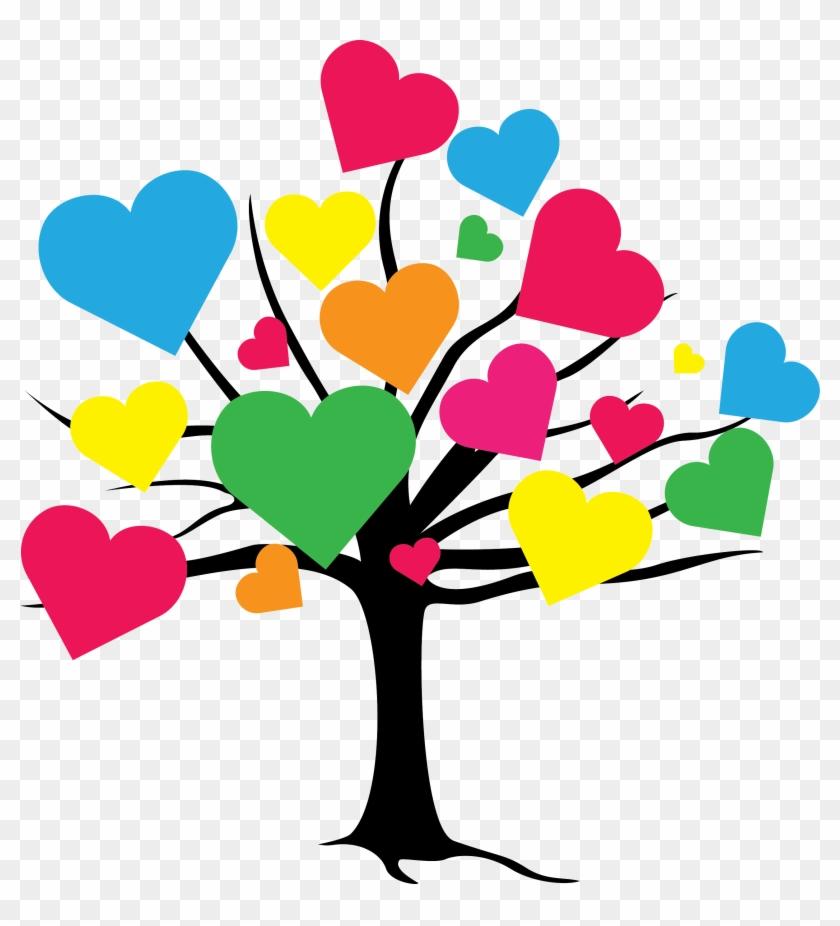 Tree Clipartart - Cuori Colorati A Punto Croce #4310