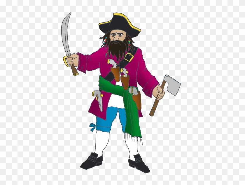 Blackbeard Pirate With Sword - Pirate Black Beard Clipart #4426