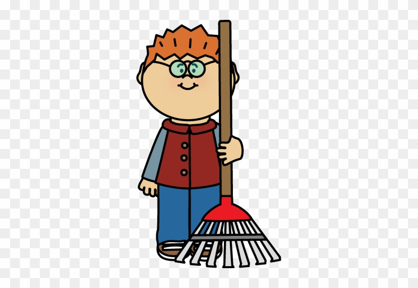 Boy With A Rake - Clip Art Fall Clothing #4445